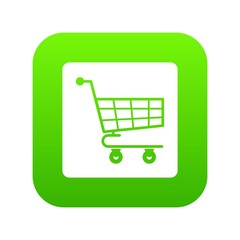Shopping cart icon digital green for any design isolated on white vector illustration
