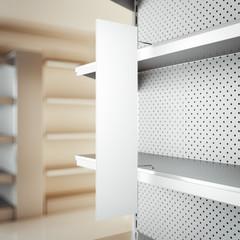 White realistic metal rack, 3d rendering