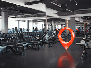 Gym with white walls and dark floor with red geotag, 3d rendering