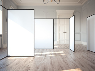 Bright exhibition hall in classic interior with blank walls. 3d rendering