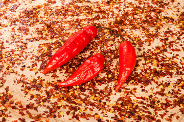 red pepper or cayenne pepper crushed with flakes scattered