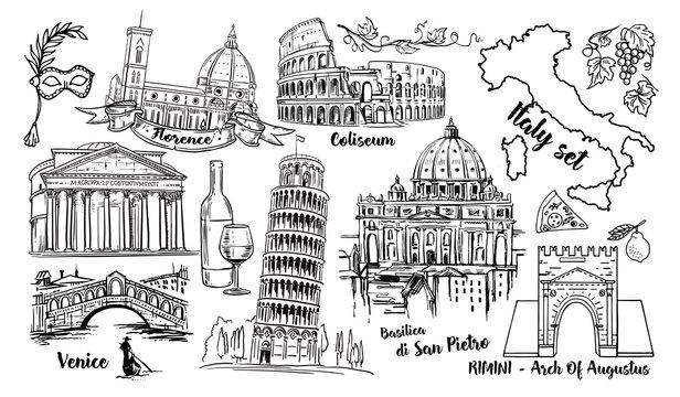Italy Landmark Vector Sketch Set. Coliseum, bridges Venice, tower Pisa, Vatican, Rimini, Arch Augustus, Santa Maria del Fiore, Florence