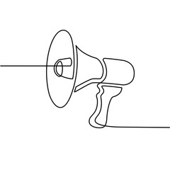 Continues line drawing of megaphone icon. social media marketing concept.