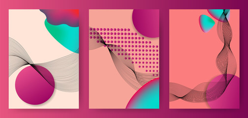Colorful abstract posters, covers, templates with gradient circles, thin line smoke wave, fluid shape, halftone dots on pink background. Vector illustration.
