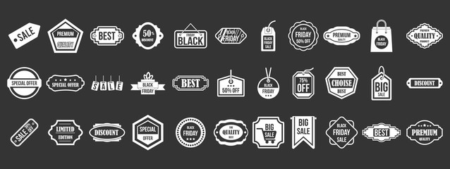 Sale badge icon set vector white isolated on grey background