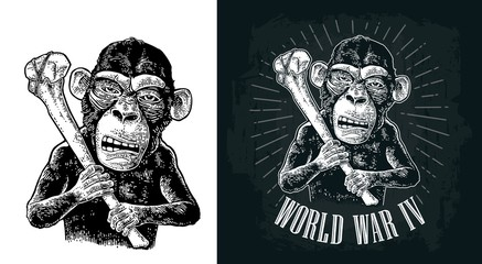 Monkey holding tibia. Vintage black engraving