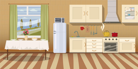 Kitchen with furniture. Cozy kitchen interior with table, stove, cupboard, dishes and fridge. Cartoon style vector illustration. Scene template for animation