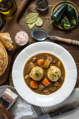 Scandinavian Venison Hunters Stew with Bacon and Onion Dumplings