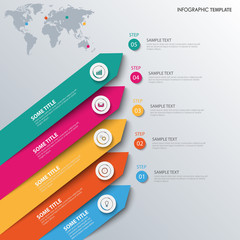 Info graphic with colored sloping design arrows template