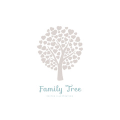Family tree with leafs of hearts. Nature. Beautiful vector silhouette illustration.