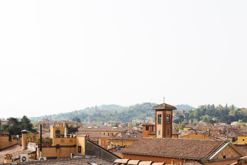 Morning view over the rooftops of Bologna in Italy