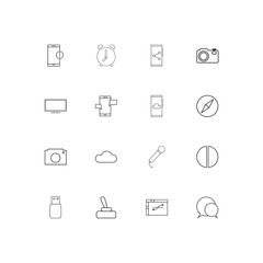 Devices simple linear icons set. Outlined vector icons