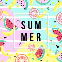 Summer banner. Punchy pastel. Trendy texture. Season vocation, weekend, holiday logo. Summer vector . Fashionable styling. Watermelon, citrus and ice cream