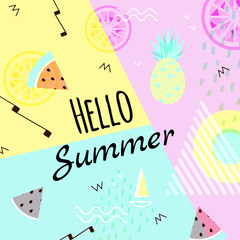 Sammer banner, poster. Punchy pastel. Season vocation, weekend, holiday logo. Summer vector . Fashionable styling. Beautiful summer background with tropical fruits vector.
