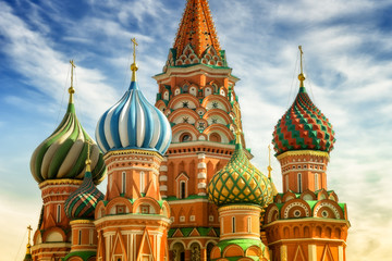 Fototapete - St. Basil Cathedral, Red Square, Moscow, close up view on cupola at the sunny day
