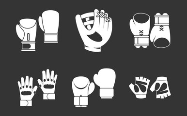 Sport gloves icon set vector white isolated on grey background