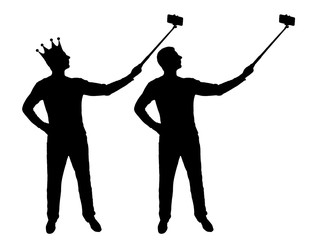 Silhouette vector of a narcissistic and selfish man with a crown on his head, makes selfie on the phone