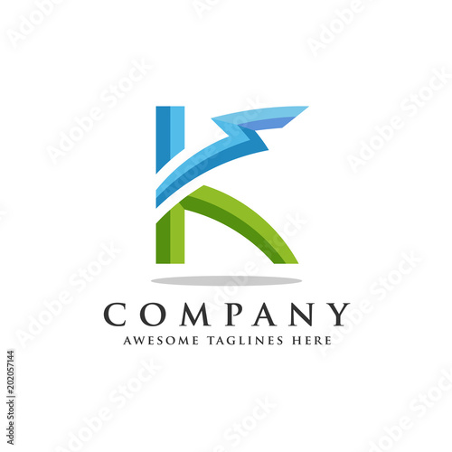 letter k lightning logo icon design template elements flash letter k logo vector strong
