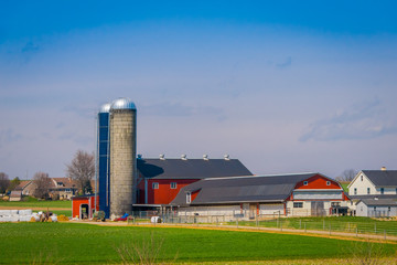 Outdoor view of huge structures located in farm barn field agriculture in Lancaster