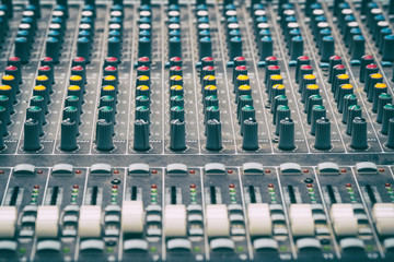 Mixing console in the Studio