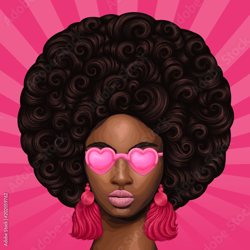 Vector Colored Portrait Of A African Girl With Magnificent Curly