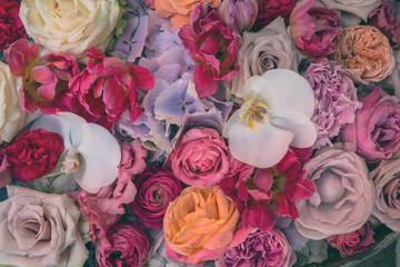 Vintage colourful flower background.