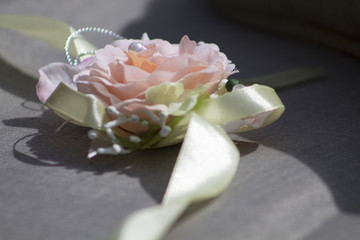 Pink Rose Silk Corsage On Bench