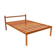 Base orthopedic wooden bed 3d render illustration isolated on white