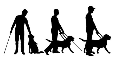 Silhouette vector of a three blind man disabled man follows a dog guide