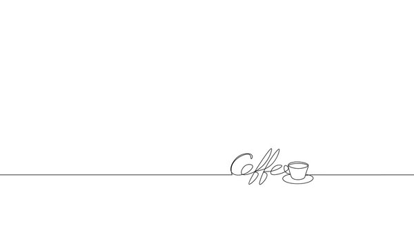 Single continuous line art coffee lettering cup silhouette. Black white hot drink espresso aroma mug concept design one sketch doodle outline drawing vector illustration