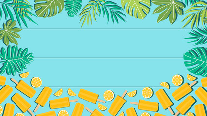 Summer holiday vector illustration template in flat style design. Poster, card or banner of ice cream or popsicle with tropical leaves. Copy space for text.