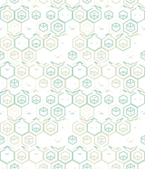 Abstract seamless pattern of hexagons and triangles.