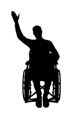 Silhouette vector of a disabled man in a wheelchair waving his hand.