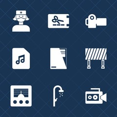 Premium set with fill icons. Such as background, street, paper, medicine, doctor, video, coupon, technology, handle, music, hygiene, antenna, label, shower, photo, bath, gift, photographer, nurse