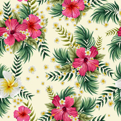 Seamless floral pattern background with colorful fresh flower