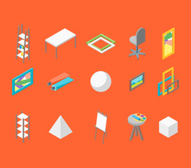 Artist Workplace Icon Set Isometric View. Vector