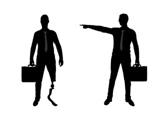 Silhouette vector, Employer refuses the invalid with a leg prosthesis to employ him for work