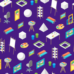 Artist Workplace Seamless Pattern Background Isometric View. Vector