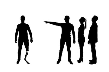 Silhouette vector. Crowd of people makes it clear to a disabled person with a leg prosthesis that he should go away