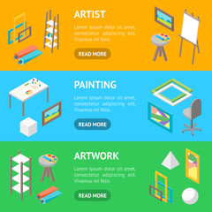 Artist Workplace Interior with Furniture Banner Horizontal Set Isometric View. Vector