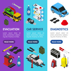 Car Service Interior with Furniture Banner Vecrtical Set Isometric View. Vector