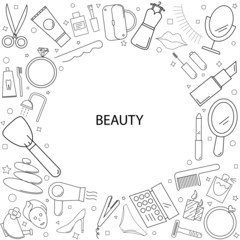 Beauty background from line icon. Linear vector pattern