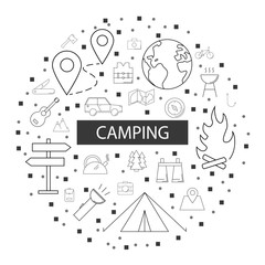 Camping background from line icon. Linear vector pattern