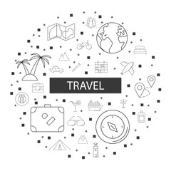 Travel background from line icon. Linear vector pattern