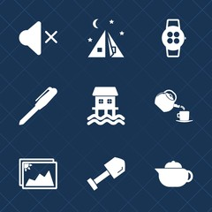 Premium set with fill icons. Such as shovel, tool, image, equipment, stationery, hot, frame, gadget, breakfast, nature, cup, tourism, technology, photo, houseboat, travel, picture, landscape, outdoor