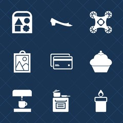 Premium set with fill icons. Such as ball, machine, cake, card, car, copter, candle, vehicle, dessert, sport, fire, image, footwear, toy, doughnut, silhouette, money, control, sign, child, play, photo