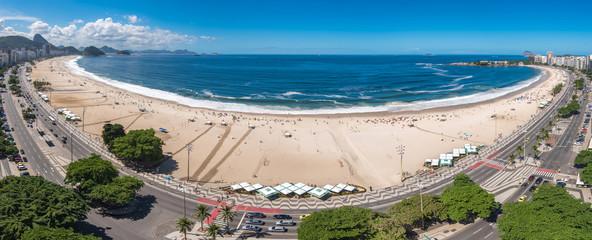 Wall Mural - Wide Angle Panoramic View of Copacabana Beach in Rio de Janeiro, Brazil