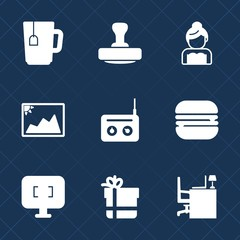 Premium set with fill icons. Such as table, media, post, coffee, package, beverage, work, couple, drink, sign, frame, bow, radio, mark, dress, photo, technology, love, certificate, burger, monitor