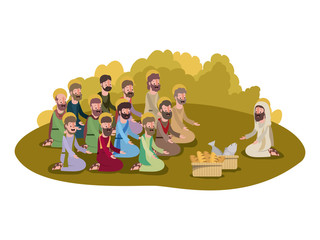 jesuschrist with apostles multiplication of bread and fish biblical scene vector