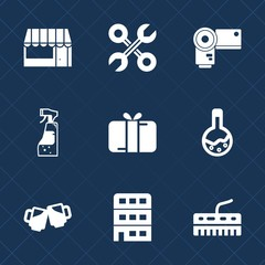Premium set with fill icons. Such as house, shop, buy, music, food, technology, medicine, home, laboratory, construction, photography, repair, pub, bottle, cart, spray, industrial, beer, equipment